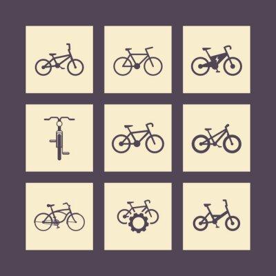 Póster bicicleta, ciclismo, moto, bici eléctrica, iconos cuadrados de grasa en bicicleta