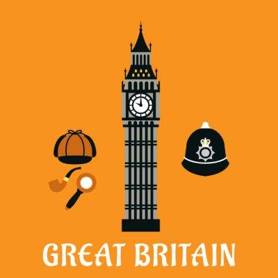 Póster Big Ben torre y otros objetos de gran bretaña