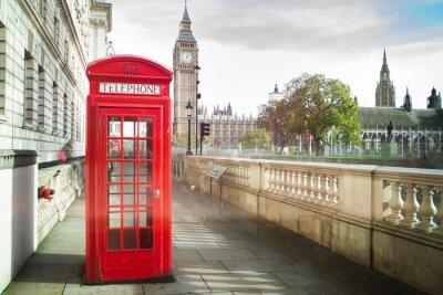 Póster Big Ben y cabina de teléfono roja en Londres