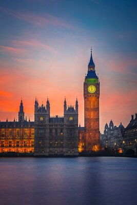 Póster Big Ben y casas del parlamento, Londres