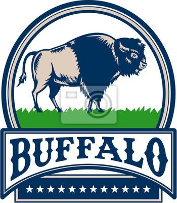 Bisonte Americano Buffalo Banner Circle Woodcut