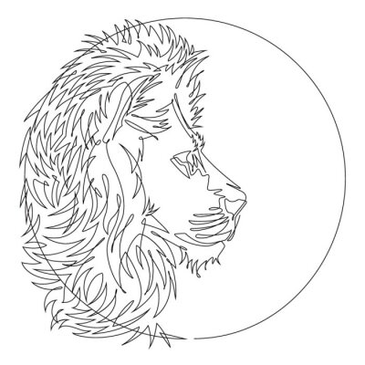 Black and White Lion Head One Continuous Line Abstract Vector Icon
