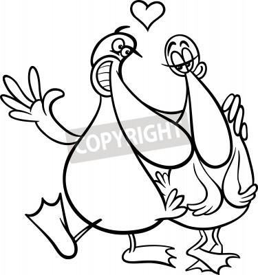 Blanco y negro día de san valentín de dibujos animados ilustración ...