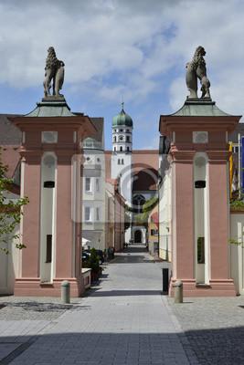 Blick vom Schloss zur Pfarrkirche San Pedro, Dillingen