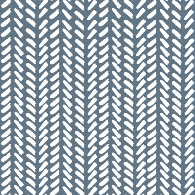 Póster Blue Geometric Abstract V shaped Line Pattern. Seamless repeat. Blue Background White V's.