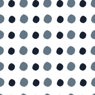 Póster Blue hand drawn dots on white background. circles. Seamless pattern. Stylish repeating texture. Modern. Simple.