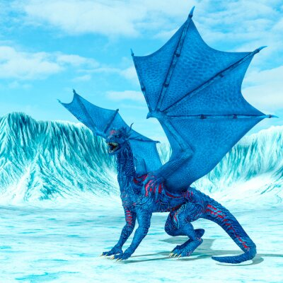 Póster blue ice dragon is looking for food on frozen land