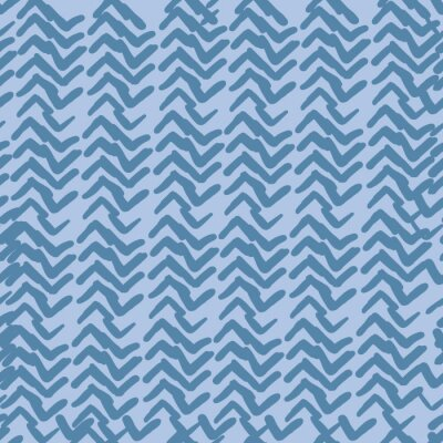 Póster Blue indigo abstract directional pattern. seamless repeate vector monochrome pattern. Hand drawn shapes.