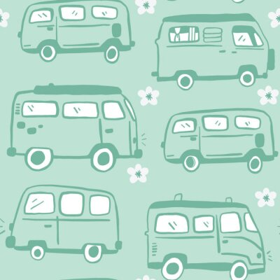 Póster Blue Seamless Hand Drawn 70s Hippie Van Pattern. Bus and flower repeat pattern. White Background.