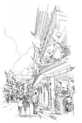 Póster Boceto a mano alzada Edificios chinos y calle de la ciudad