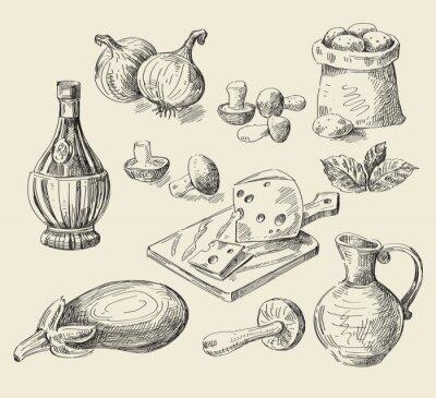 Póster boceto dibujado a mano alimentos