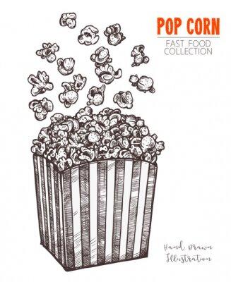 Póster Boceto dibujado a mano palomitas de maíz, comida de cine snack en estilo grabado. Ilustración de vector de caja llena con maíz volando. Símbolo de comida rápida, cine, entretenimiento. Vector aislado