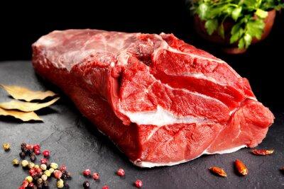 Póster bodegón, pieza de carne, cocinar chuleton Listo para