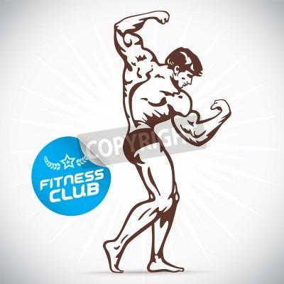 Póster Bodybuilder modelo de la aptitud Ilustración