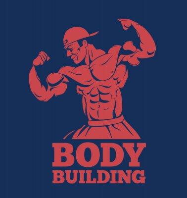 Póster Bodybuilder muscular hombre fitness modelo posando logo. Culturista, mostrando, músculos, bodybuilding, emblema