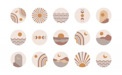Póster Boho social media highlight covers. Abstract stories contemporary style, sun moon story round icons, vector mid century illustration