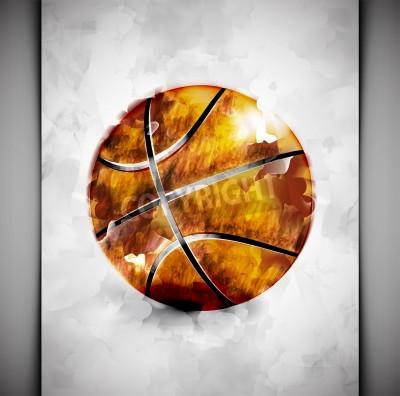 Póster Bola del baloncesto en el estilo de la acuarela
