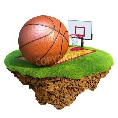 Póster Bola del baloncesto, tablero, aro y judicial basado en pequeño planeta. Concepto para el equipo de baloncesto o el diseño de la competencia. Pequeña isla / colección del planeta.
