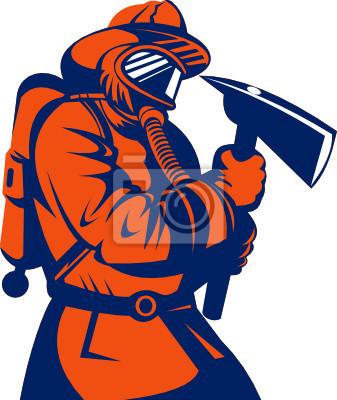 Bombero o bombero lleva un hacha
