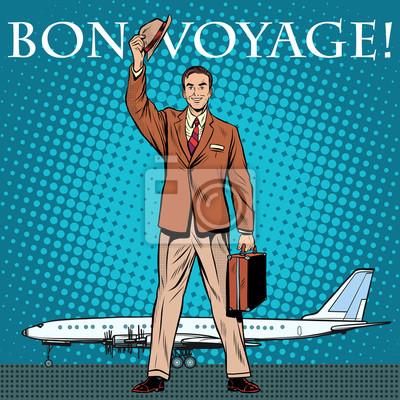 Bon voyage hombre de negocios aeropuerto de pasajeros