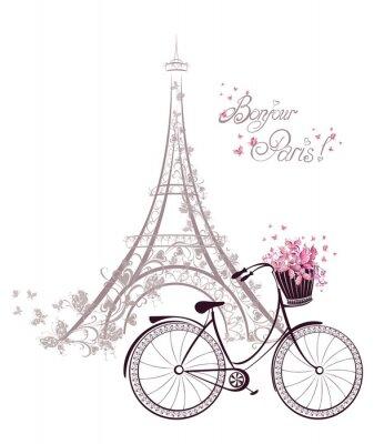 Póster Bonjour texto de París con la Torre Eiffel y la bicicleta