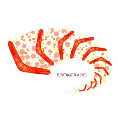 Póster Boomerang en movimiento. Imitación de acuarela. Boomerang como símbolo de Australia. Ilustración vectorial aislado.
