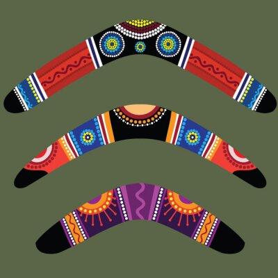 Póster Boomerangs con un diseño aborigen