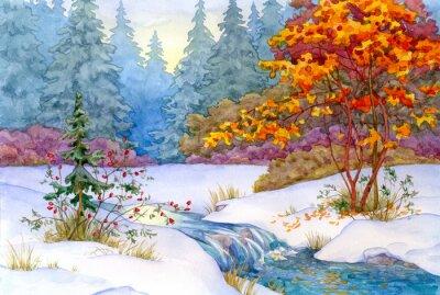Póster Bosque del invierno