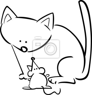 Bosquejo De Dibujos Animados Del Gato Y El Ratón Para Colorear