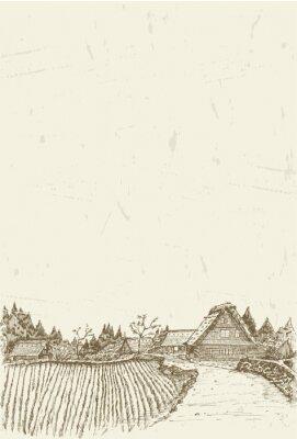 Póster Bosquejo de la aldea del patrimonio mundial Shirakawa-go en Japón