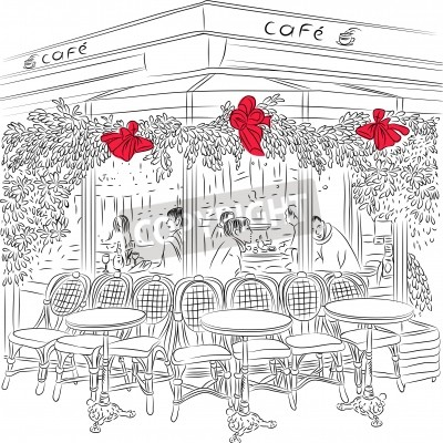Póster bosquejo del café parisino con adornos navideños