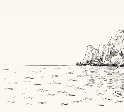 Póster Bosquejo del paisaje marino del verano del vector. Vista al mar y montaña