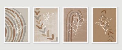 Póster Botanical and golden line wall art vector set. Earth tone boho foliage line art drawing with  abstract shape.  Abstract Plant Art design for print, cover, wallpaper, Natural wall art..
