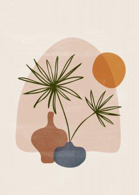 Póster Botanical vintage print boho sun minimalist wall art
