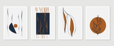 Póster Botanical wall art vector set. Earth tone boho foliage line art drawing with  abstract shape.  Abstract Plant Art design for print, cover, wallpaper, Minimal and  natural wall art.