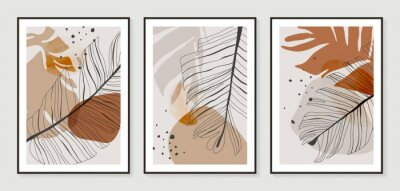 Póster Botanical wall art vector set. Golden foliage line art drawing with watercolor.  Abstract Plant Art design for wall framed prints, canvas prints, poster, home decor, cover, wallpaper.