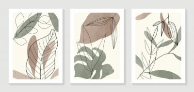 Póster Botanical wall art vector set. Water color boho foliage line art drawing with  abstract shape.  Abstract Plant Art design for print, cover, wallpaper, Minimal and  natural wall art.