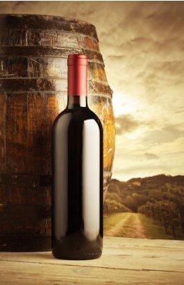 Póster botella de vino tinto