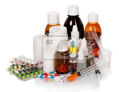 Botellas de médicos y pastillas