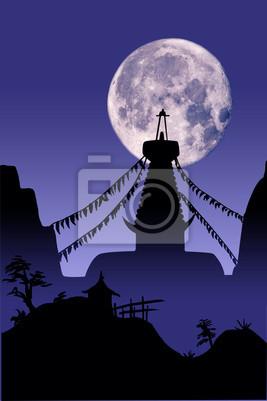 Bouddhiste Temple-sur-lune
