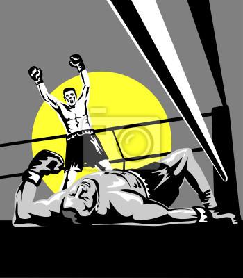 Boxer celebrando un golpe de gracia