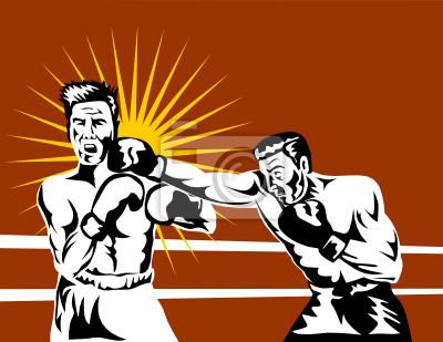 Boxer conectar un golpe de nocaut