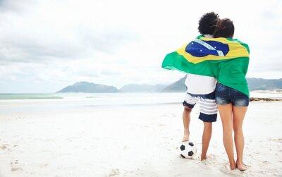 Póster Brasil aficionados al fútbol