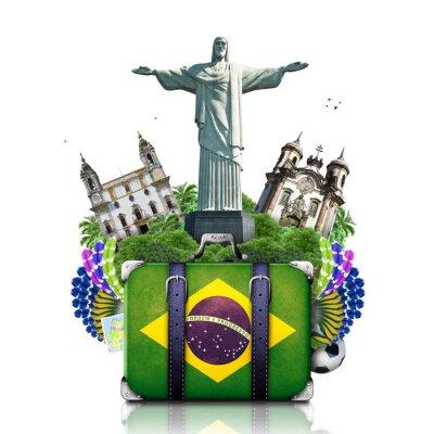 Póster Brasil, Brasil señales, viaje y la maleta retro