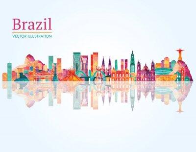 Póster Brasil Hito horizonte. Ilustración del vector