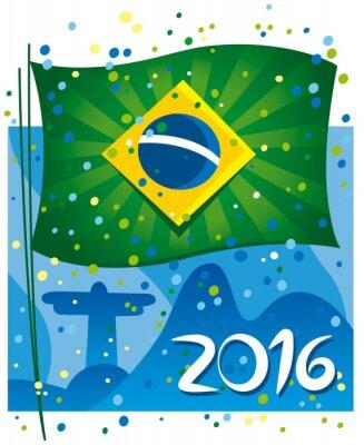 Póster Brazil flag celebrating the new year in wonderful city