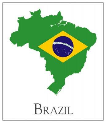 Póster Brazil flag map