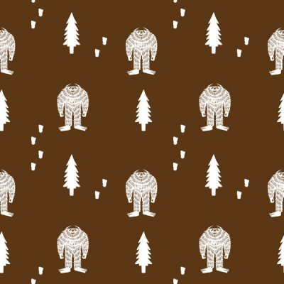 Póster Brown Yeti Sasquatch Background Seamless Vector Repeat Pattern
