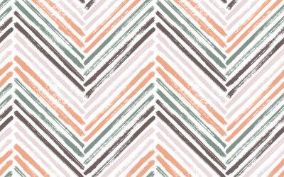 Póster Brush stroke chevron zig zag seamless pattern.