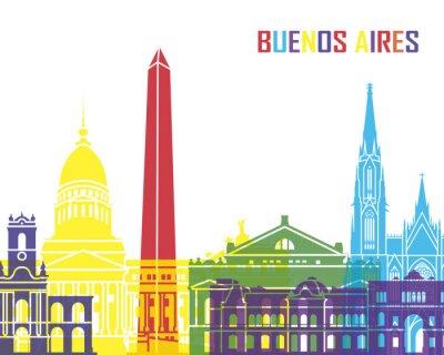Póster Buenos Aires skyline pop